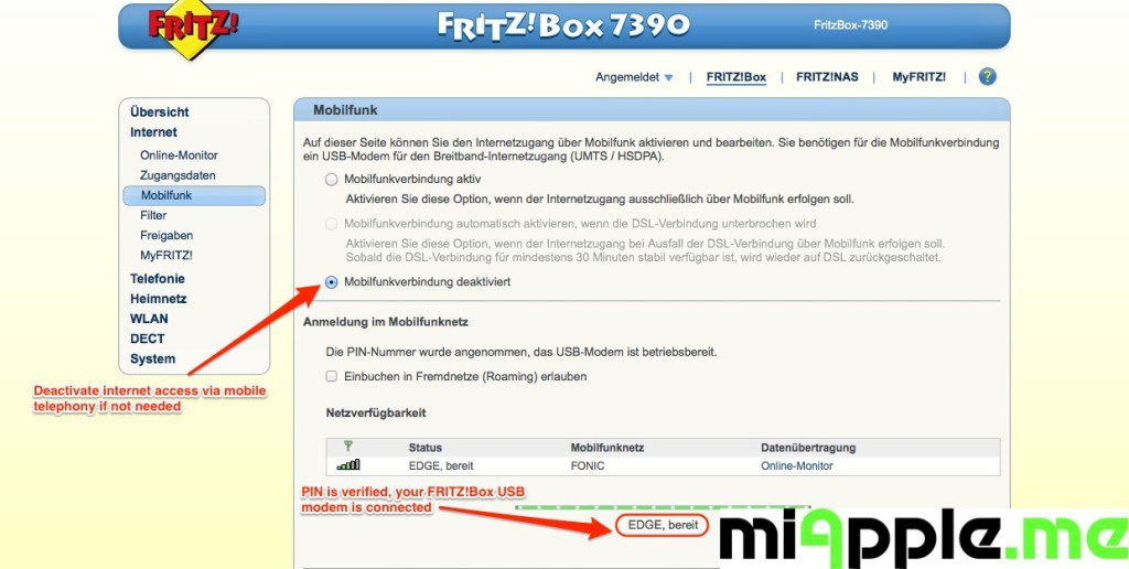 FRITZ!Box GSM-Gateway via a mobile broadband modem USB-stick: USB modem connected to the mobile network