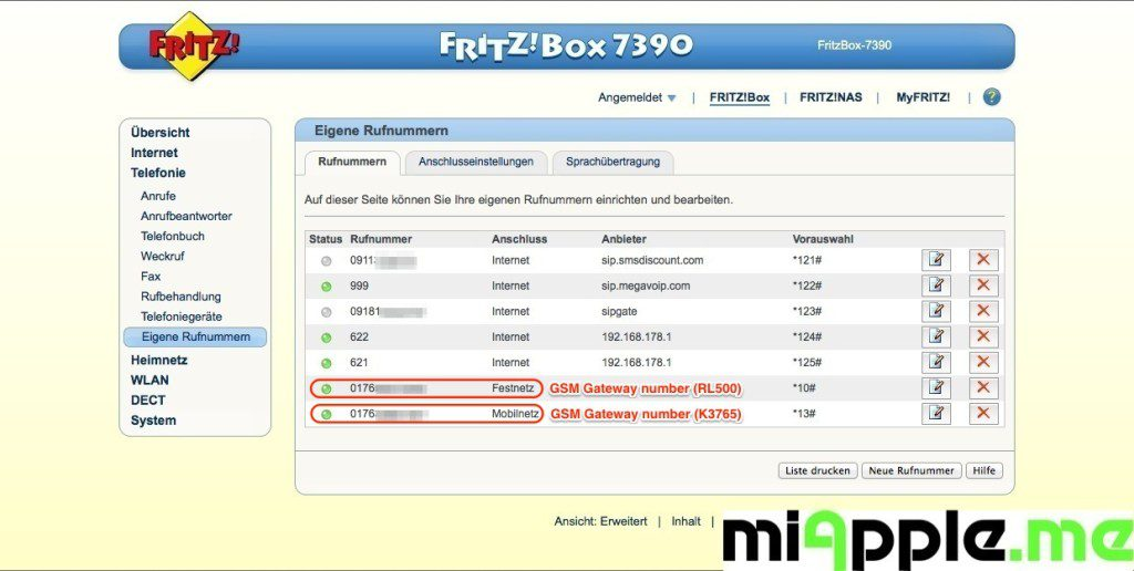 FRITZ!Box GSM-Gateway via a mobile broadband modem USB-stick: mobile telephone number will be displayed under 'Telephony > Telephone Numbers' and you can assign it to your telephony devices.
