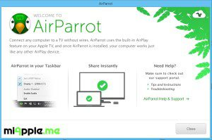AirParrot 1.2 for Windows new first launch splash screen