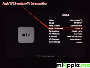 Apple TV 7.0 build number 6897.5 About