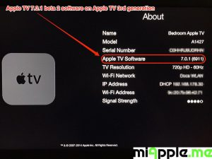 Apple TV 7.0.1 beta 2 build number 6911 About