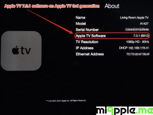 Apple TV 7.0.1 build number 6912 About