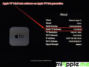 Apple TV 7.0.2 beta build number 6915 About