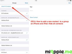 iOS 8: Add contact to group - hide all contacts