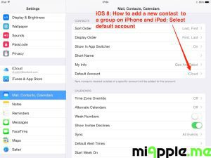 iOS 8: Add contact to group - settings select default account