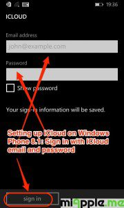 Setting up iCloud on Windows Phone 8.1_03_sign in