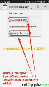 android Notepad sync iCloud notes_09_several iCloud accounts added