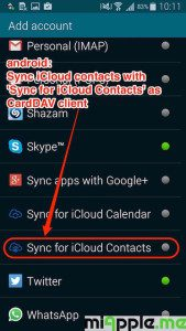 sync iCloud contacts to android via CardDAV client Sync for iCloud Contacts