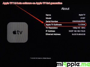 Apple TV 7.2 beta build number 7504 About