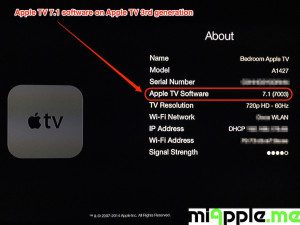 Apple TV 7.1 build number 7003 About