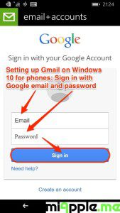 Setting up Gmail on Windows 10 for phones_03_sign in