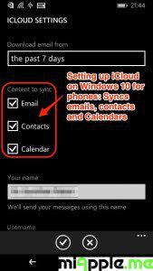 Setting up iCloud on Windows 10 for phones_Syncs iCloud email-contacts-calendars