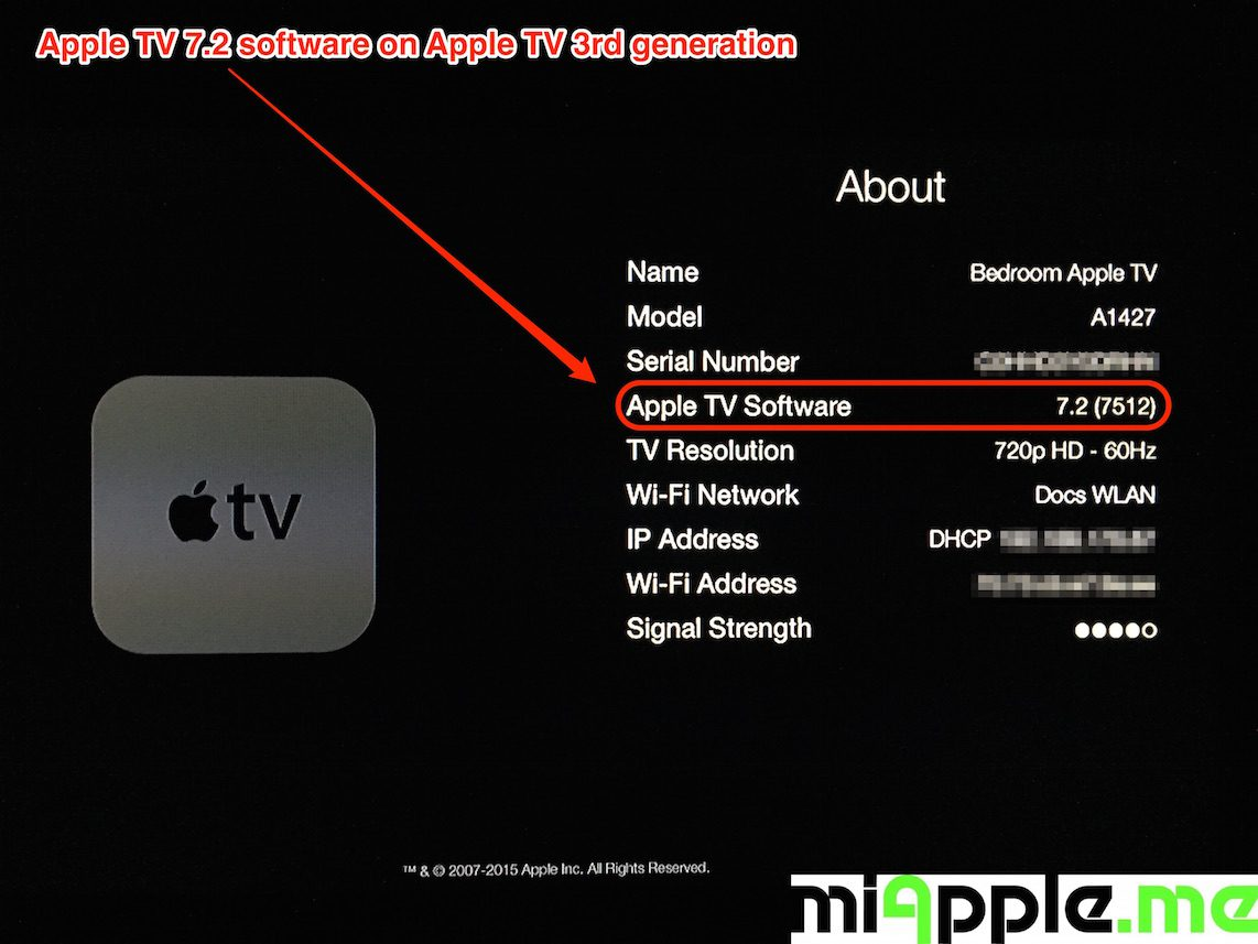 Apple TV 7.2 build number 7512 About
