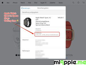Apple Watch Sport Order and Delivery Information