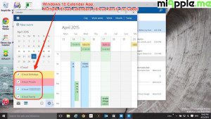 Windows 10 Calendar App_05_Multiple iCloud calendars