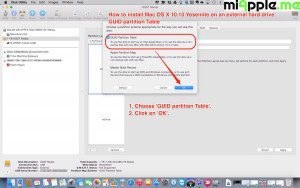 Installing OS X 10.10 Yosemite on external drive_02_disk utility GUID partition table
