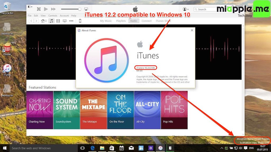 iTunes 12.2 compatible to Windows 10
