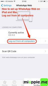 WhatsApp Web on iPad_08_Log out from all computers iOS 9