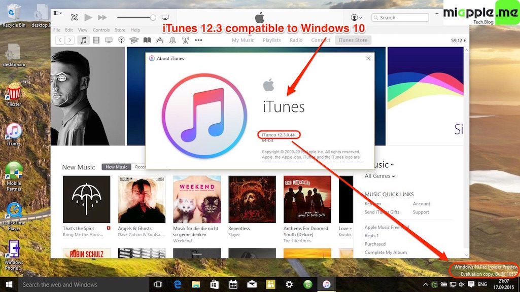 iTunes 12.3 compatible to Windows 10