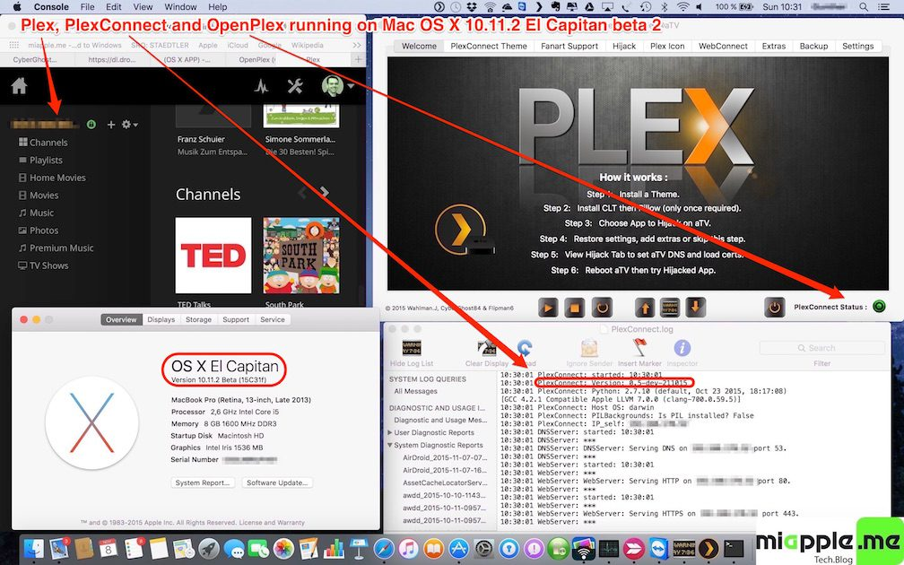 Plex-PlexConnect-OpenPlex on Mac OS X 10.11.2 El Capitan beta 2