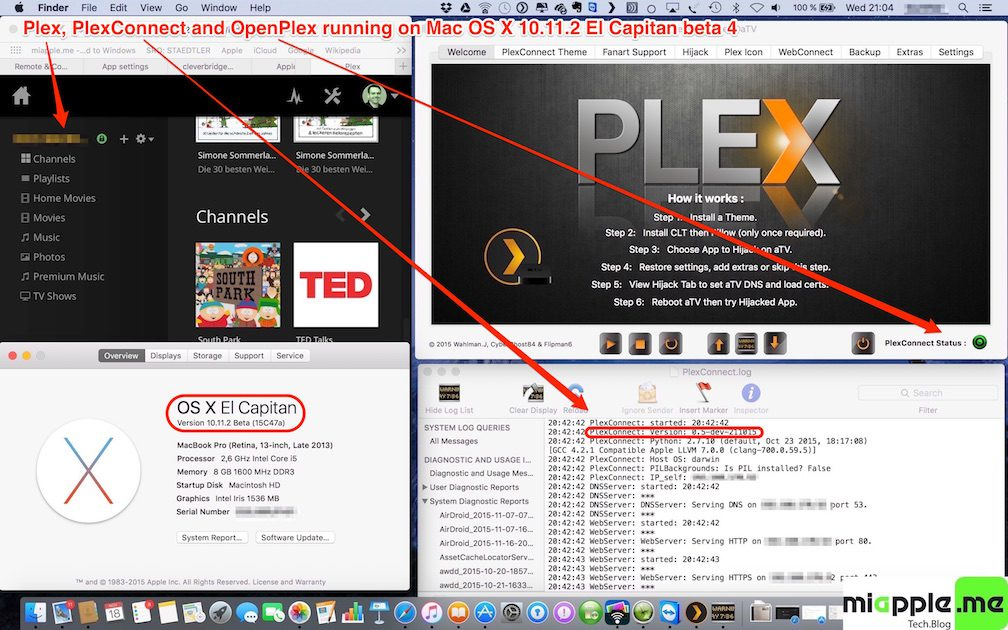 Plex-PlexConnect-OpenPlex on Mac OS X 10.11.2 El Capitan beta 4