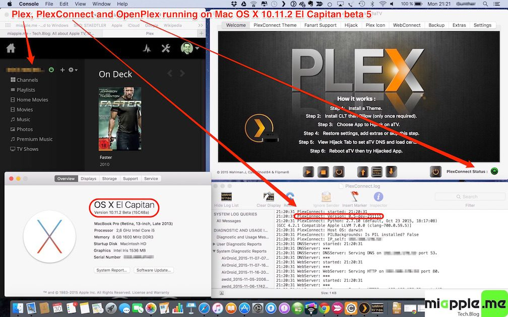 Plex-PlexConnect-OpenPlex on Mac OS X 10.11.2 El Capitan beta 5