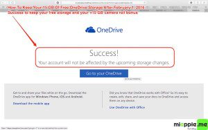 Keep your 15 GB free OneDrive Storage_02_success page