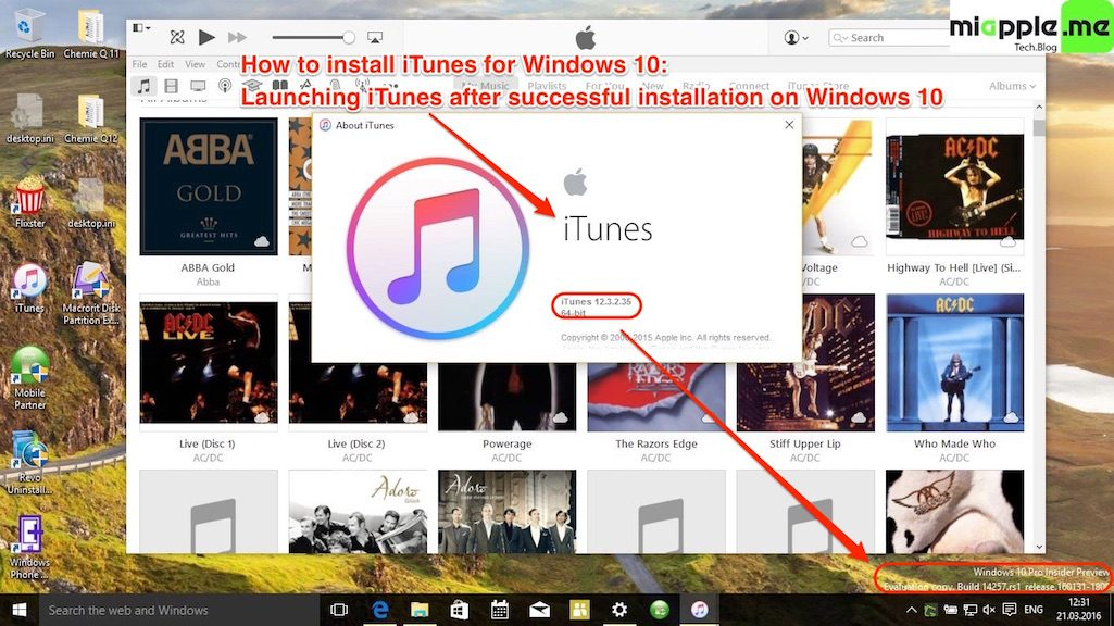Install iTunes for Windows 10: Launching iTunes after successful installation on Windows 10