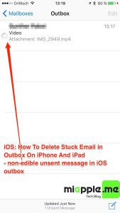 iOS_delete stuck email in outbook on iPhone and iPad_01_non-edible unsent message in iOS outbox
