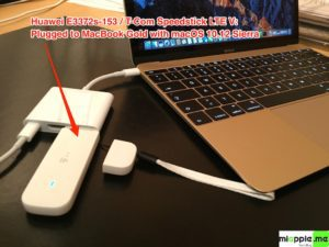 Huawei E3372s-153 T-Com Surfstick V_05_plugged to MacBook Gold with macOS 10.12 Sierra