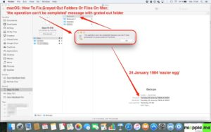macOS: fixing grayed out folders_01_the operation can't be completed
