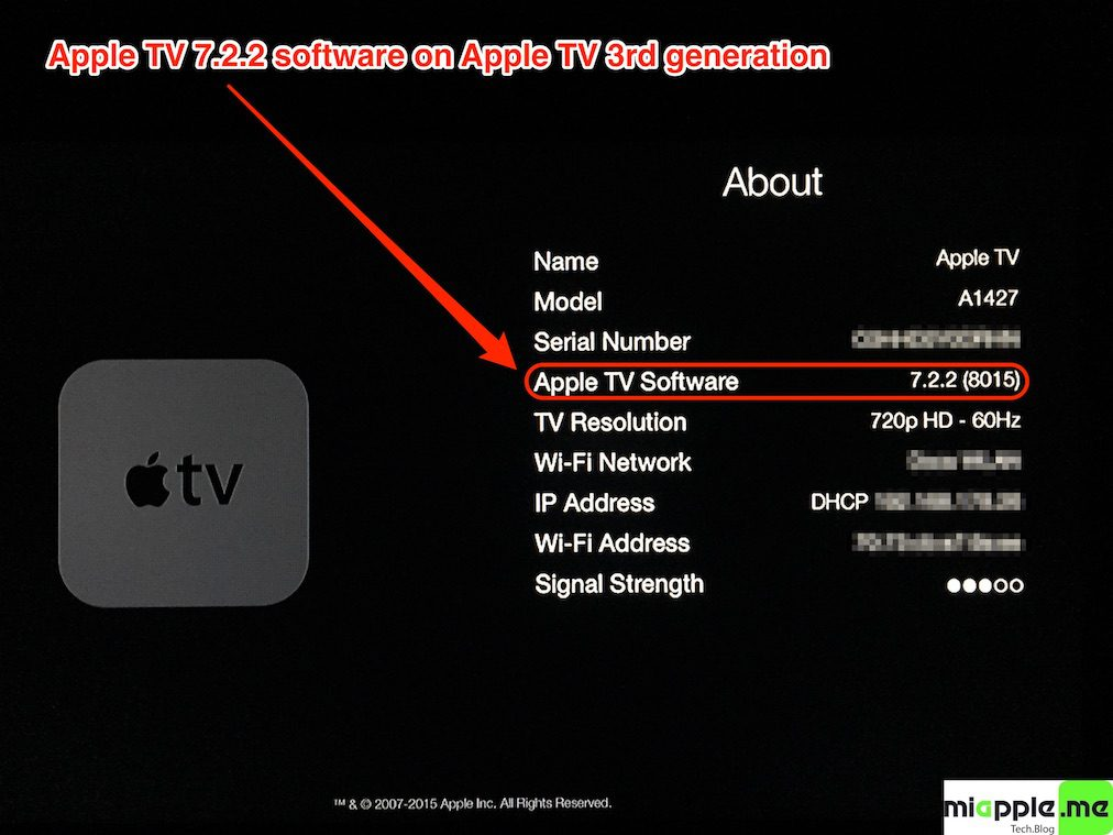 Apple TV 7.2.2 build number 8015 About