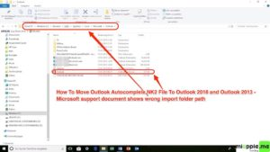 Moving Outlook Autocomplete to new profile or PC via NK2edit_01_wrong import folder path