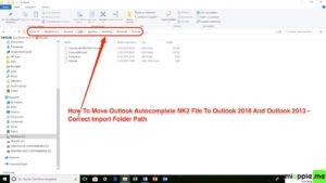 Moving Outlook Autocomplete to new profile or PC via NK2edit_02_correct folder path and renamed Outlook autocomplete .nk2 file after import