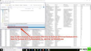 Moving Outlook Autocomplete to new profile or PC via NK2edit_04_Save as Outlook 2010 autocomplete as .dat file