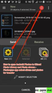 Sync Android Photos to iOS iCloud Photo_01_Photosync app select album and photos for transfer