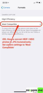 iOS convert HEIF HEIC to JPG automatically_02_camera settings most compatible