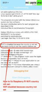Raspberry Pi WiFi country not set_01_WiFI disabled because country not set