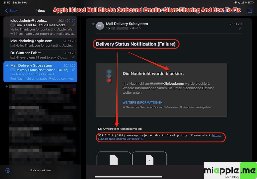 iCloud Mail Silent Filtering_01_Delivery Status Notification Failure