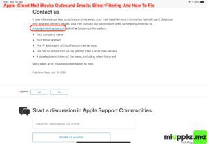 iCloud Mail Silent Filtering_02_apple support document contact iCloud Mail Postmaster