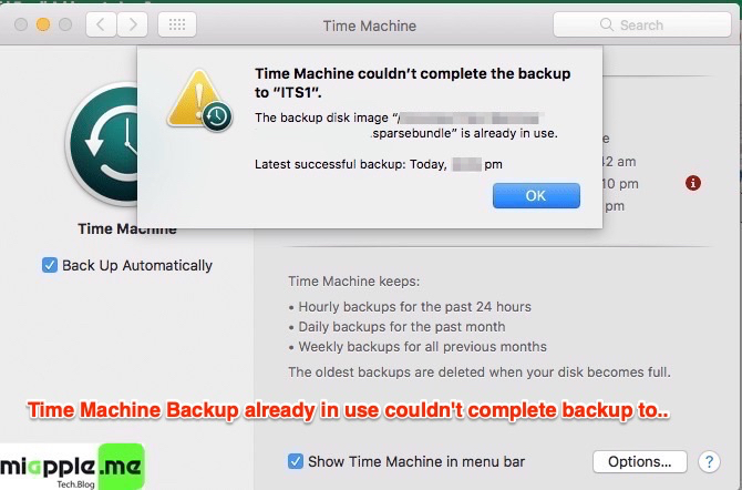 Fix macOS Time Machine Backup already in use could not complete backup